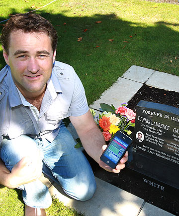 REMEMBERING ME: Craig White decided to create a website that lets you access an online memorial site using a smart phone.