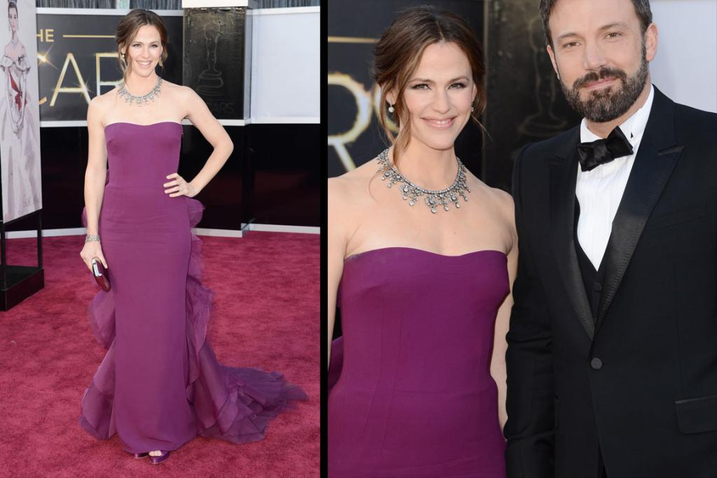 The Good - Jennifer Garner works bum ruffles in this plum Gucci gown. Husband Ben's also wearing Gucci - but someone needs to straighten up the man's bow tie, stat!