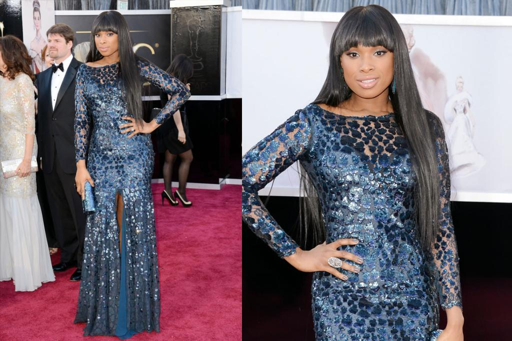 The Mixed - Jennifer Hudson's sparkly blue Roberto Cavalli gown suits her aesthetic, the stringy hair extensions do not, however.
