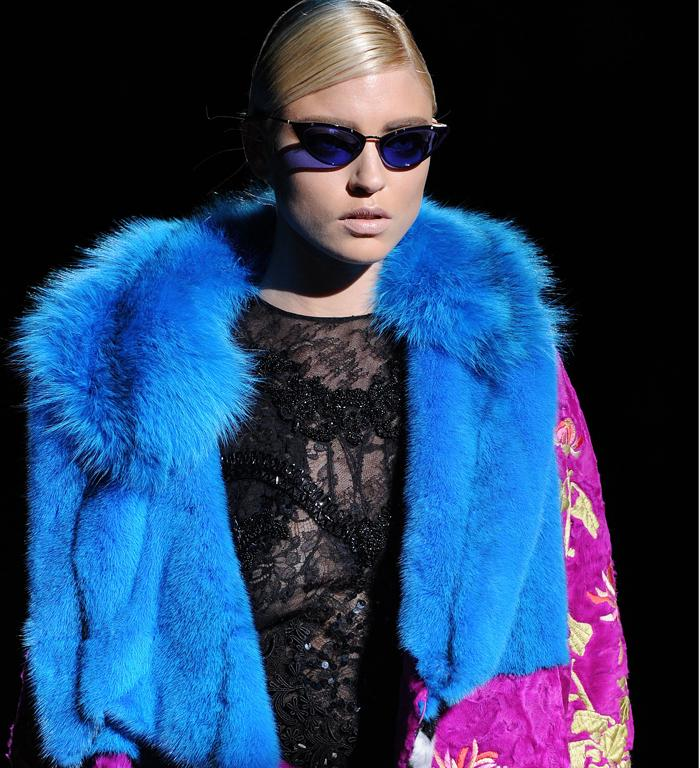 Tom Ford abandoned his usually sleek aesthetic for full-on clashing pattern and texture.