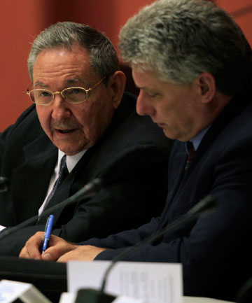 Raul Castro and Miguel Diaz-Canel