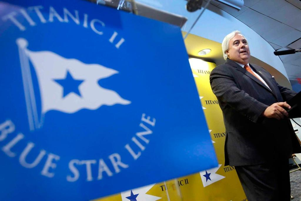 Australian billionaire Clive Palmer speaks at a news conference to announce plans for the building of his cruise ship Titanic II under the Blue Star Line in New York.