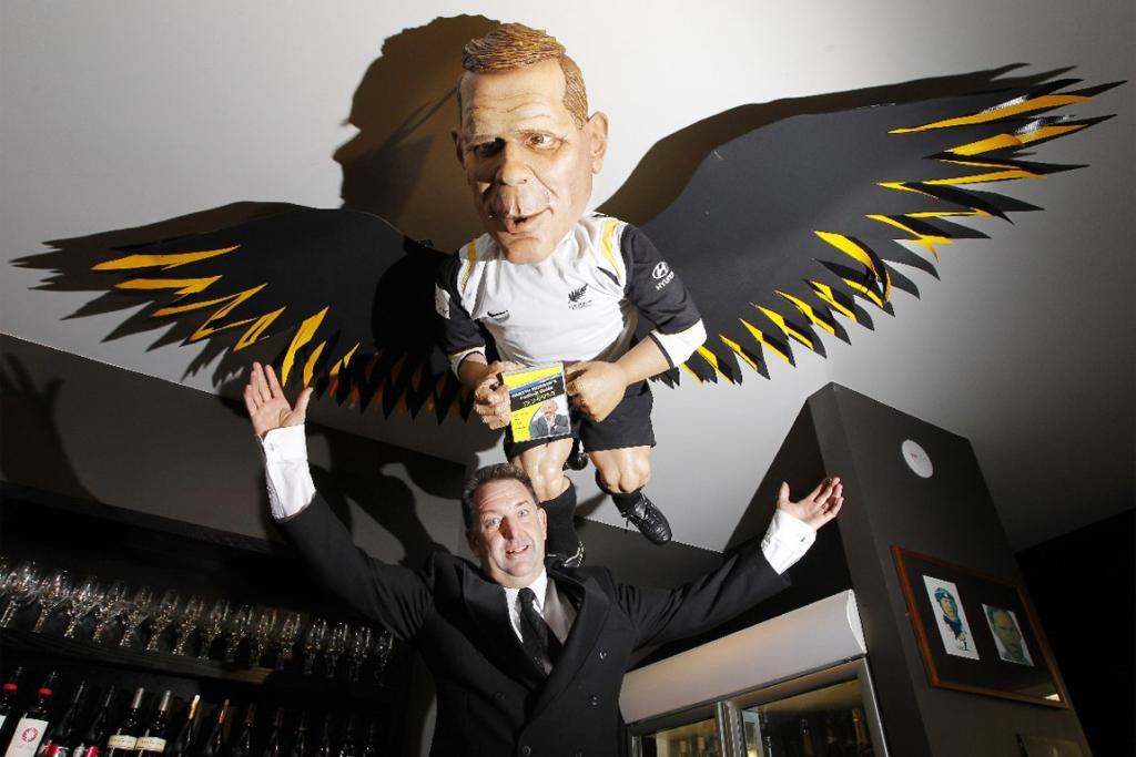 Backbencher managing director Alistair Boyle and the puppet of All Whites coach Ricki Herbert.