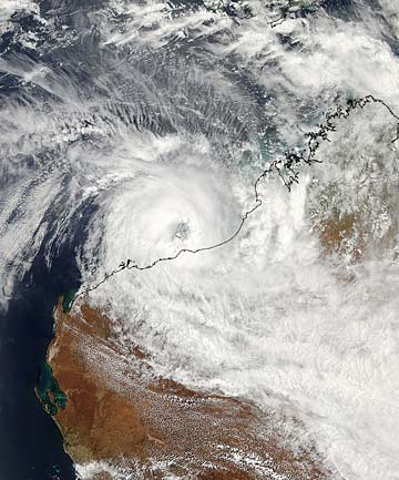 BIBLICAL PROPORTIONS: This Nasa satellite image shows the eye of Tropical Cyclone Rusty very close to making landfall near Port Hedland, Western Australia at 6.45pm Tuesday (NZ time).