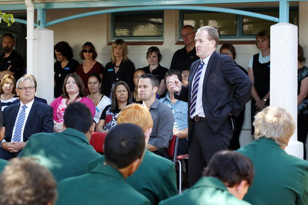 Nelson Marlborough Institute of Technology chief executive Tony Gray welcomes students.