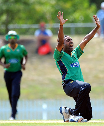 Triumphant: Stags player Tarun Nethula celebrates the wicket of Northern Knights' Daniel Flynn.