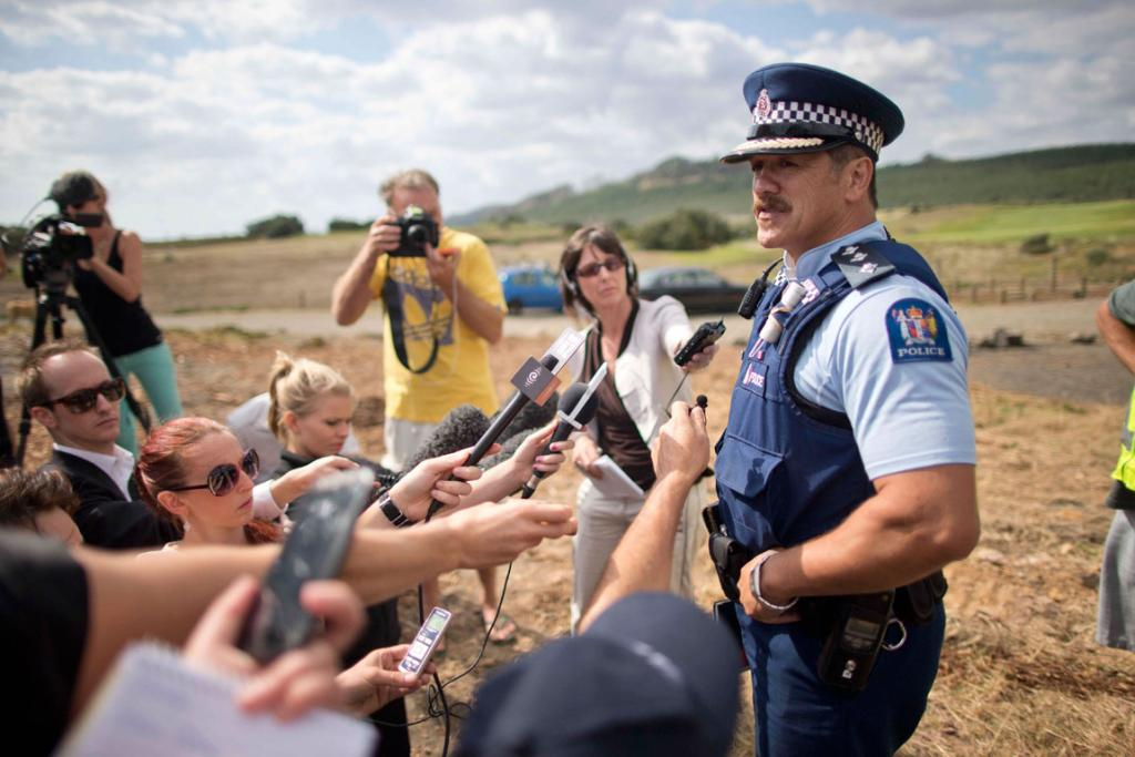 Inspector Shawn Rutene holds a press conference following the killing of a man by a shark at Muriwai Beach.