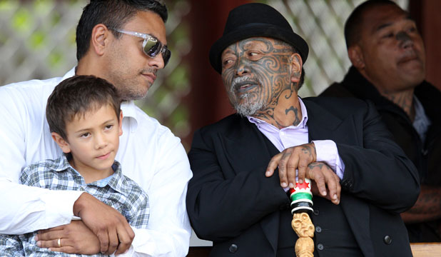 FREEDOM: Tuhoe activist Tame Iti shares a moment with his son Wairere Iti with grandson Te Rangimoaho, 7.