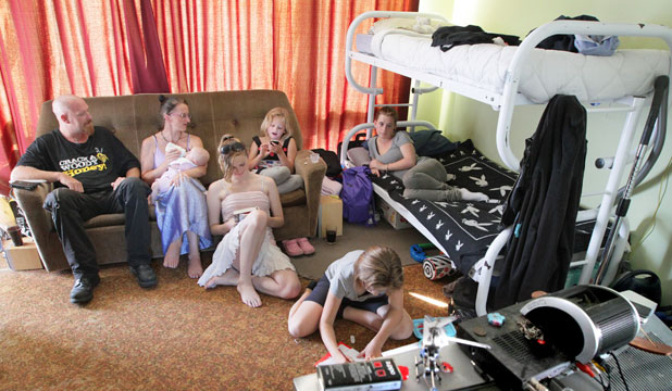 TURNED AWAY: A family of seven are living in a relative's sleepout because of the difficulty in finding rental accommodation in Christchurch. From left AJ McIlroy and Anne Bovey with Aja, 4 months, Courtney, 14, Bailey, 8, Tatanya, 11, and Tasman, 14.