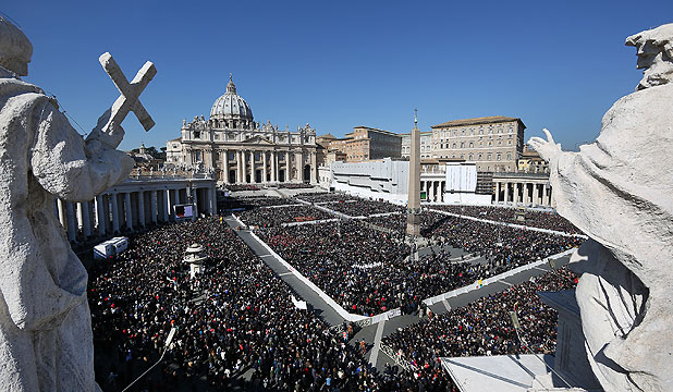 FINAL APPEARANCE: Thousands gather in St Peter's Square as Pope Benedict XVI attends his last weekly audience.