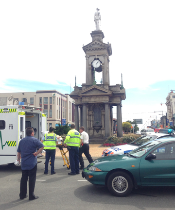 A car and bicycle collided in Invercargill, at the intersection of Dee and Tay streets. The cyclist was taken to hospital.
