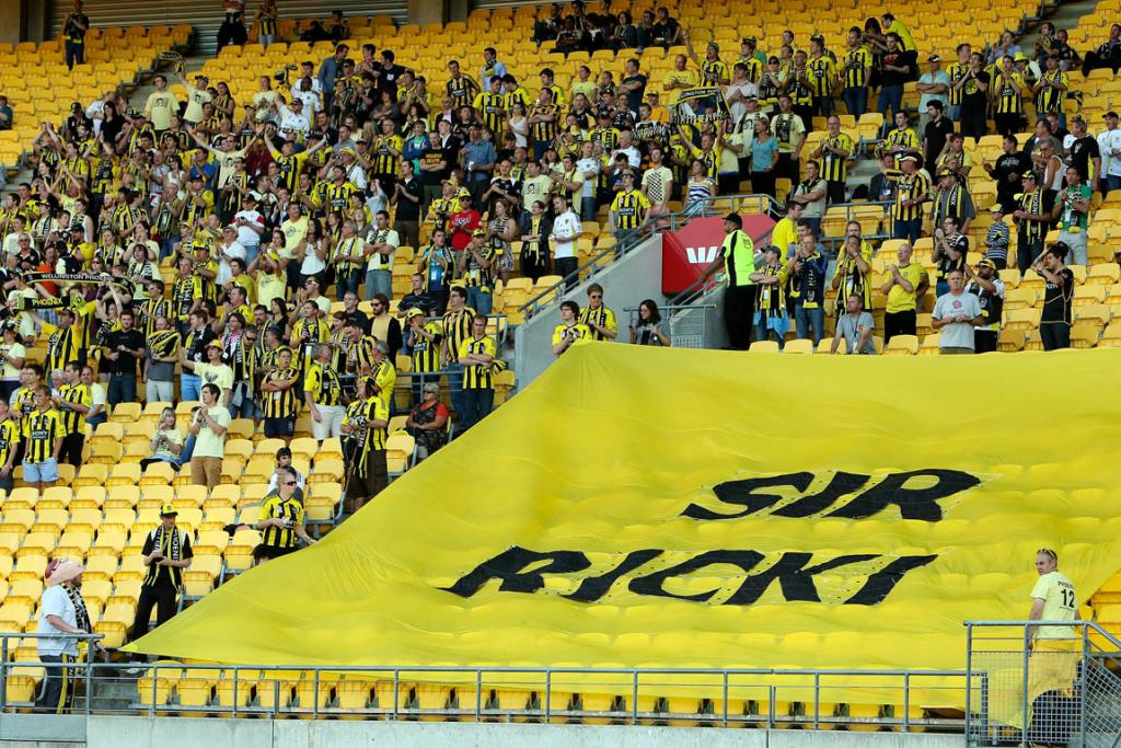 Phoenix fans show their support for former coach Ricki Herbert.