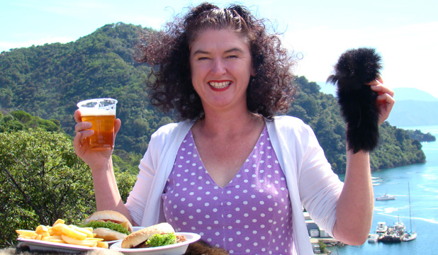 Possums for pints: Kaipupu Point Mainland Island Society secretary Jo O'Conner supports the Pestival's planned fur trade of a pint for a possum tail