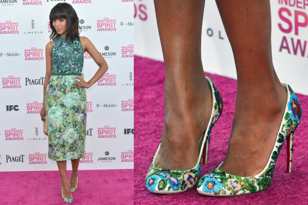 The Best - Kerry Washington masters a print mish-mash in this Giambattista Valli dress with Louboutin pumps. This would look bad on many people - that length is a very hard one to pull off - but the Django actress looks flawless.
