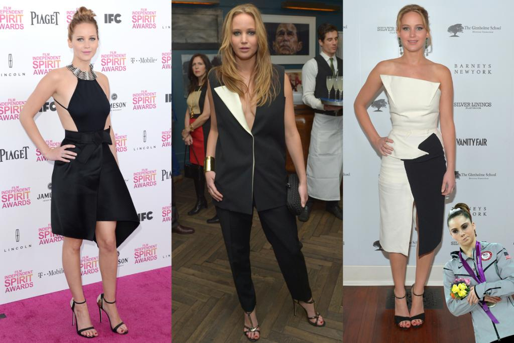 The We're-Just-Not-Sure - Here's Jennifer Lawrence, wearing (from left to right) Lanvin, Lanvin and Roland Mouret. And while we want to love them all, we just can't get on board. The look to the left is our fave, although we'd have preferred it with the hair in the middle, and from certain angles it was way too side-booby. Speaking of the middle, there's some, erm, action in the middle there. We don't even want to go into the look on the right: cue McKayla Maroney face.