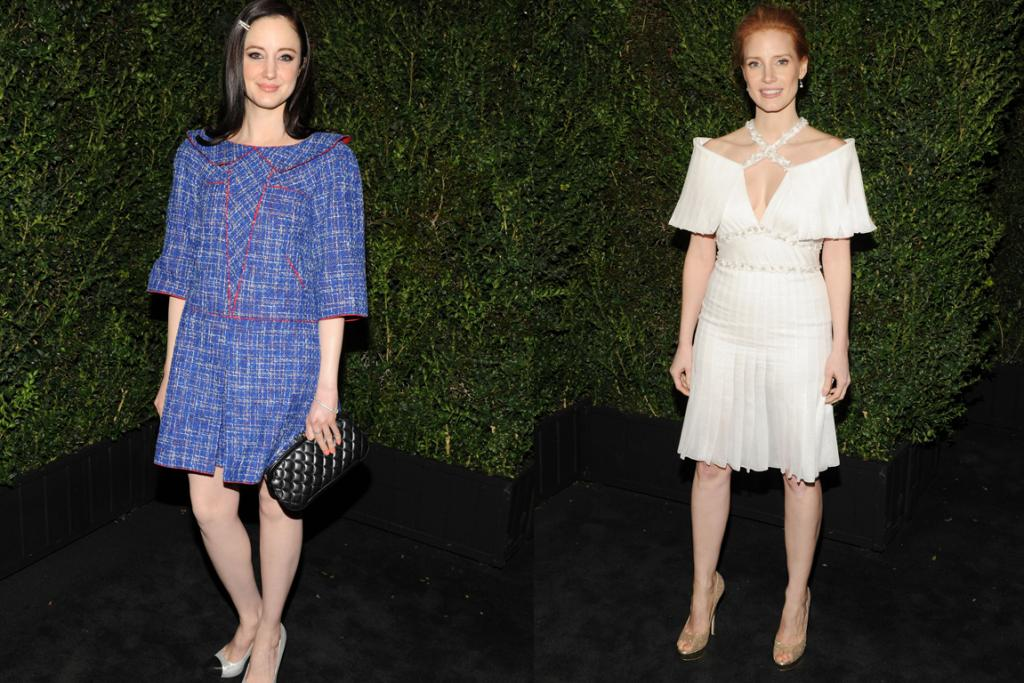 The Worst - Andrea Riseborough and Jessica Chastain are fashion-forward ladies who usually look good, and they're both wearing new season Chanel couture, which is about as fancy as it gets. But that doesn't change the fact that these Karl monstrosities are unflattering.