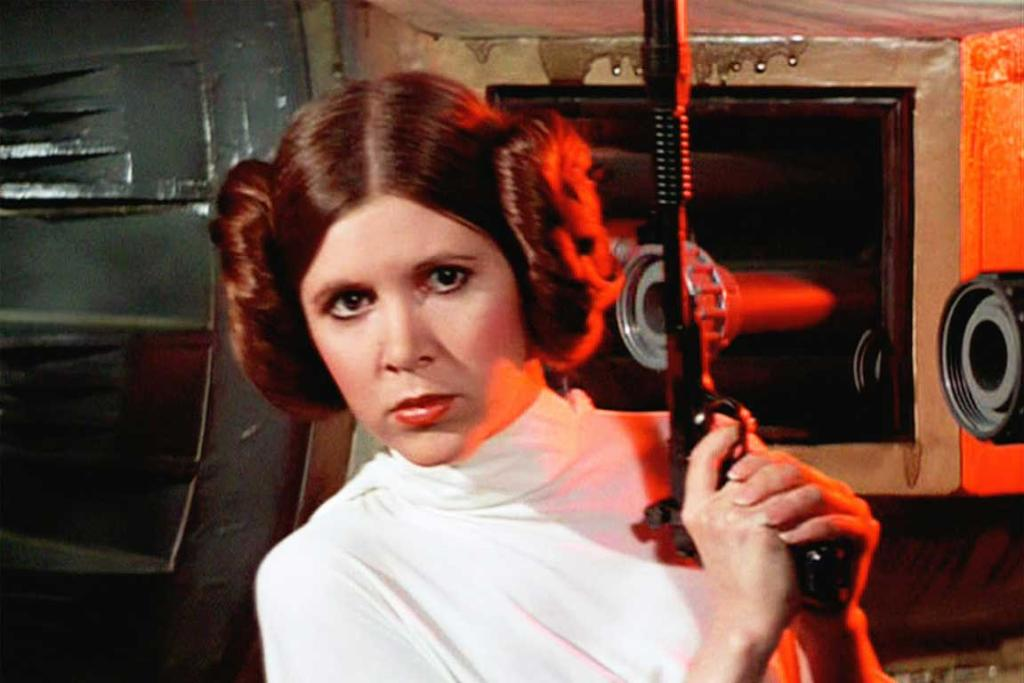 Carrie Fisher as Princess Leia in Star Wars (1977).