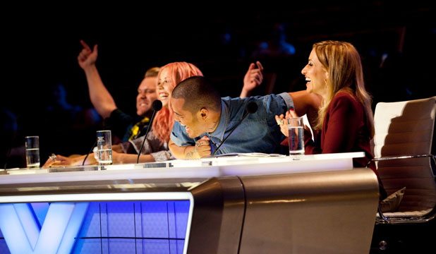 Before the bench: X-Factor New Zealand judges Daniel Bedingfield, Ruby Frost, Stan Walker and Melanie Blatt.