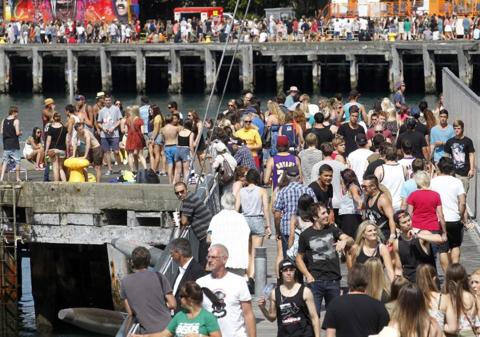 Some of the 17,000 fans packing the Wellington waterfront.