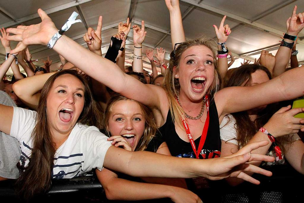 HAPPY FANS: The crowd goes wild at the Vodafone pop/RnB stage listening to Savage at Homegrown in Wellington.