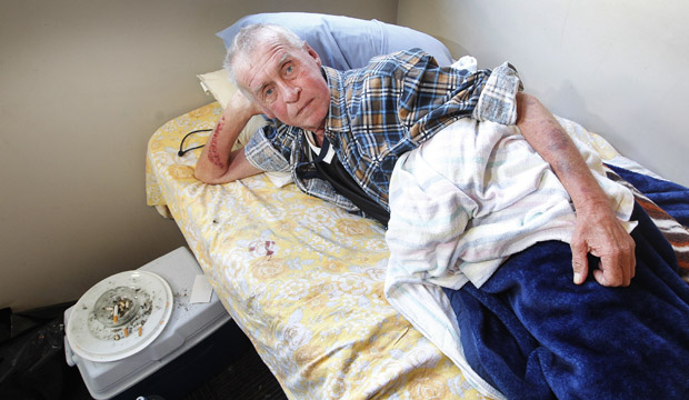 CHANGES NEEDED: Rick Parry, pictured in his room at the Wellington night shelter, has been hospitalised three times in the past month and has been told he may not survive the winter.