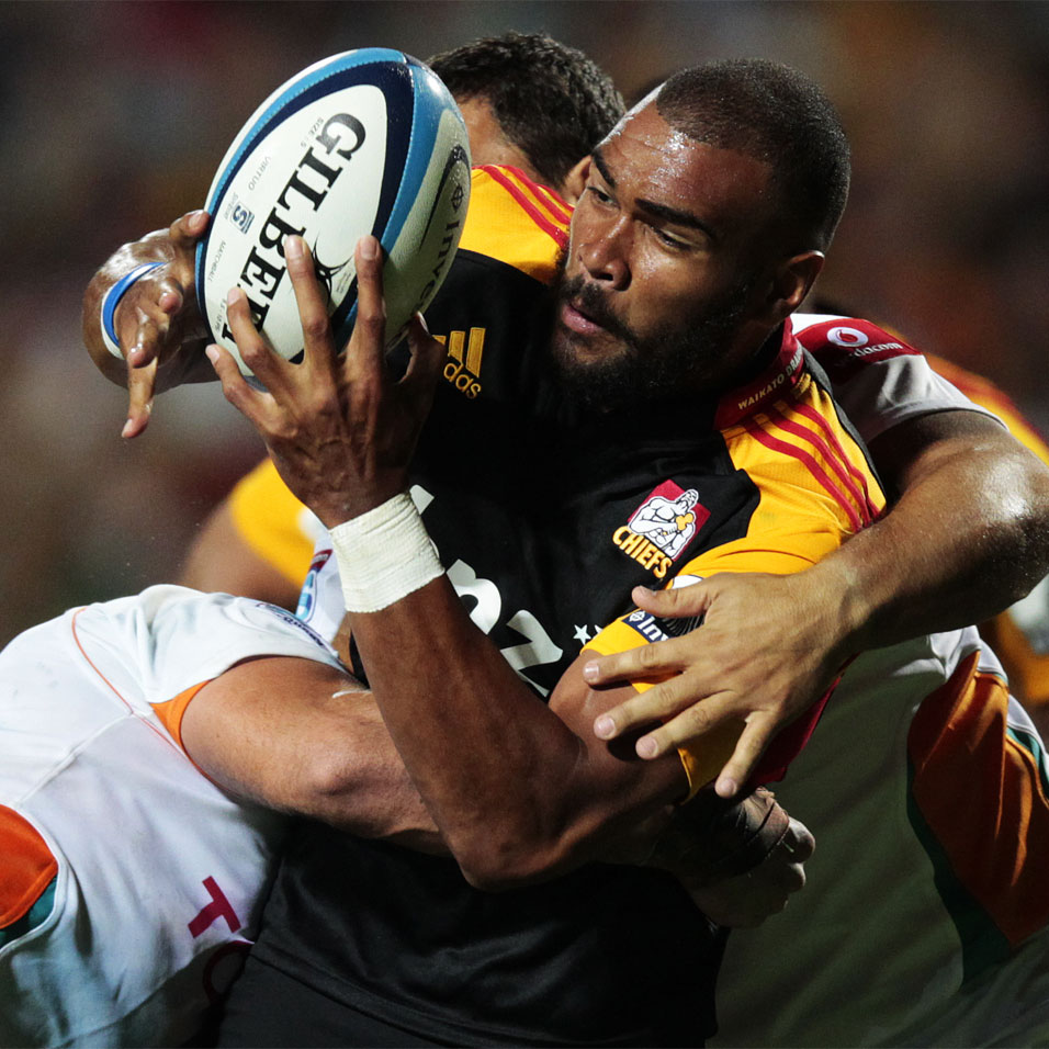 HANDLING ERROR: Patrick Osborne of the Chiefs lose the ball in the tackle.