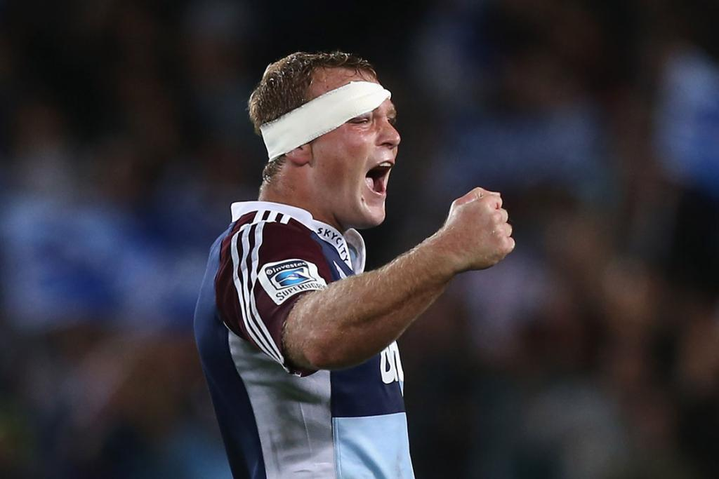 Luke Braid celebrates during the Blues win over the Crusaders.