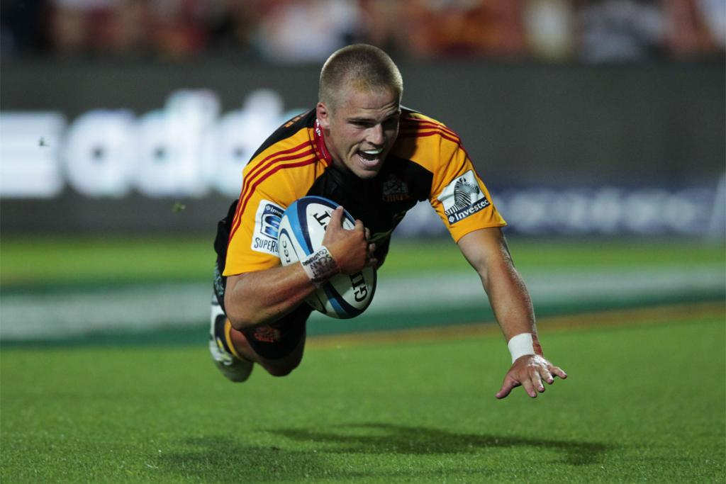 Gareth Anscombe goes over to score for the Chiefs against the Cheetahs.