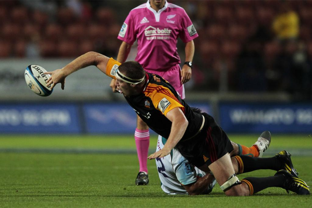 Brodie Retallick gets an offload away.