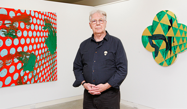 INTUITIVE ARTIST: Max Gimblett at Page Blackie Gallery in Wellington with his signature quartrefoil stretched canvases.