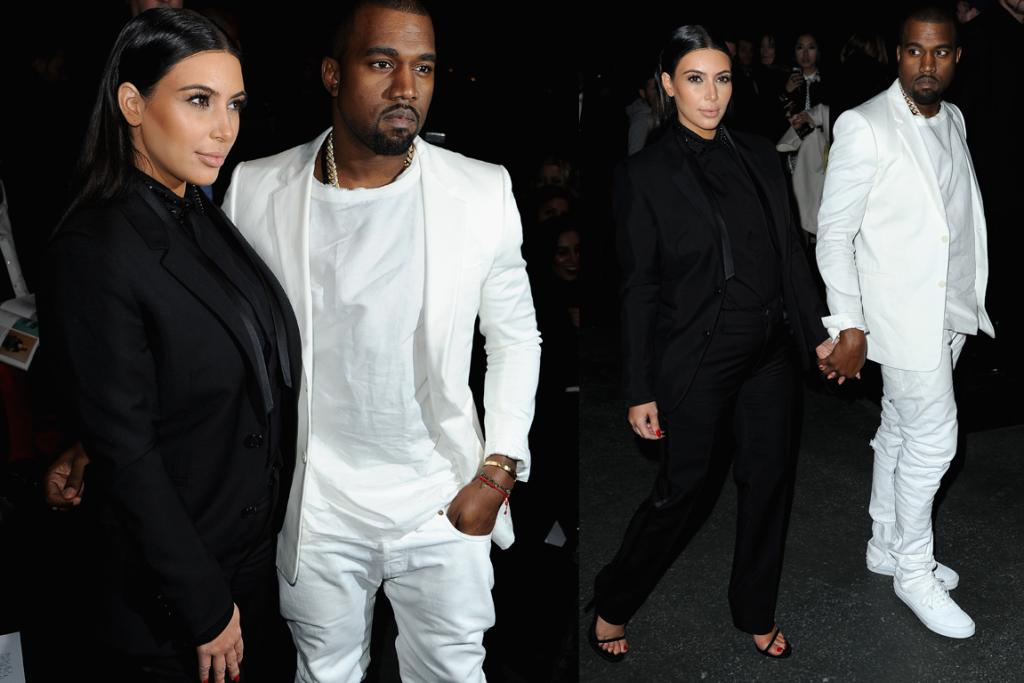 """The Bad - Couple's Edition: Kanye to Kim: """"Babe, let's do our matchy-matchy thing for the Givenchy show. You can be the evil suited mobster wearing a hair-net, I'll be the white prince rocking a ferosh chain."""""""