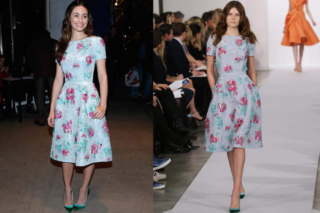 The Good: Emmy Rossum styled this Oscar de la Renta look exactly how it was worn on the runway, and we think she looks as good - if not better - than the model. We definitely prefer her half-up, half-down hair to the model's extreme middle part. Plus, is that pockets we see? We have an undying obsession for pretty dresses with pockets.