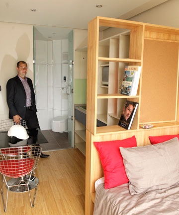 n accommodation pod made out of a shipping container designed for Christchurch rebuild workers