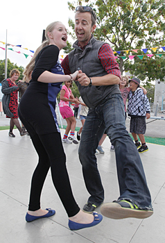 SWING TIME: Sarah Loversidge and Dan Martin get into the swing at the Dance-o-Mat at the river end of Re:Start in Oxford Tce.