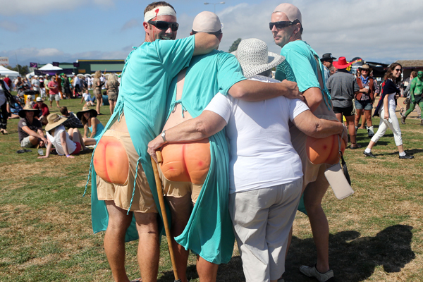 Fun and games at the Hokitika Wildfood Festival where the 'bums' were from Christchurch and Barbara was from Reefton.