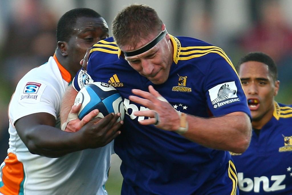 Brad Thorn of the Highlanders is tackled during the round four Super Rugby match between the Highlanders and the Cheetahs.