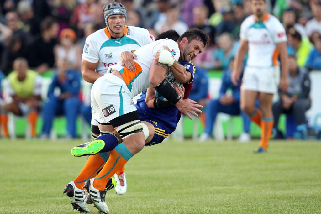 Frans Viljoen of the Cheetahs is tackled.