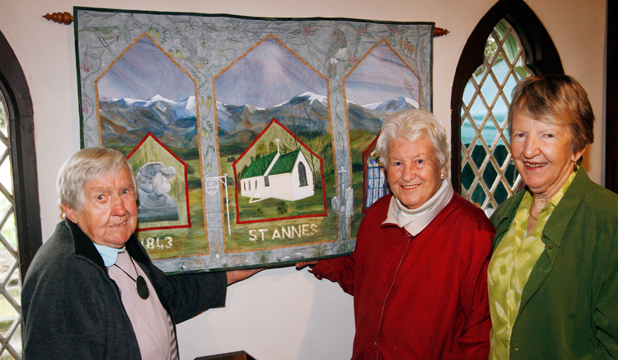 COMMEMORATIVE WORK: A  special wall hanging was unveiled as part of St Anne's Church's 150th celebrations on Saturday. From left are Margaret Griffiths and Alice Robinson, and Marie Temple who made the wall hanging.