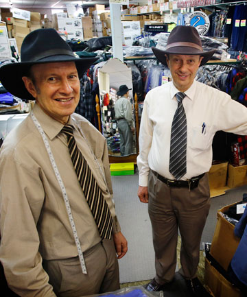 Brothers Karam, left, and John Haddad in their shop. They are famous for their customer focus and traditional trading nous.