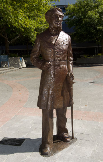 City gifted: A statue of Captain John Fane Charles Hamilton now stands in Civic Square after it was gifted to Hamilton by the Gallagher Group yesterday.