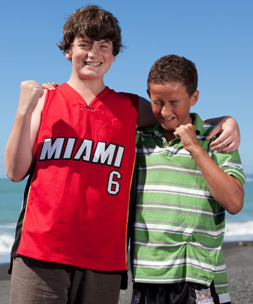 MATES FIRST: Joshua McQuoid (left) was saved from big waves when his friend Hikairo Ratapu (right) raised the alarm.