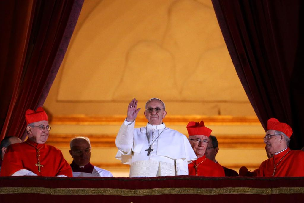 Pope Francis I on St Peter's balcony.