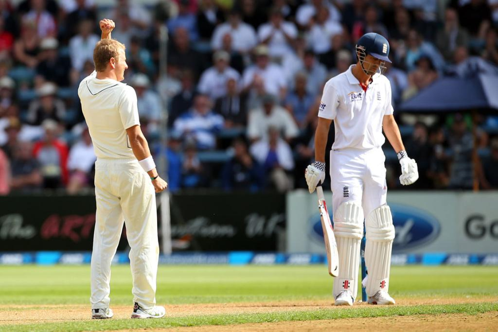 Neil Wagner celebrates the wicket of England opener Alastair Cook.