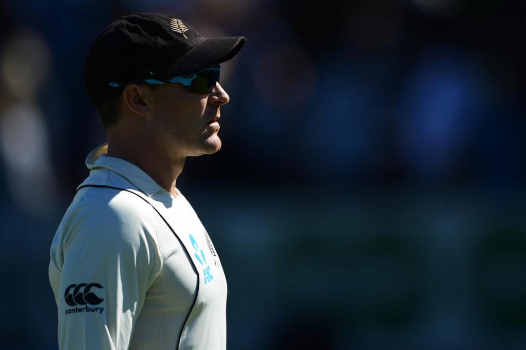 Brendon McCullum looks on during a tough first day for the Black Caps.