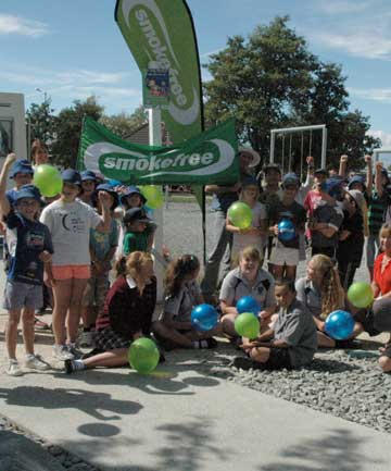 SMOKEFREE CELEBRATIONS: Twizel Area School students celebrate the district's playgrounds and parks becoming smoke-free.