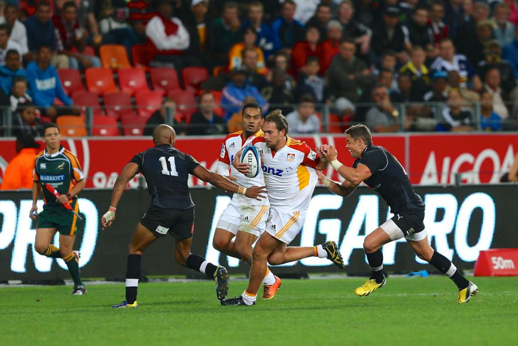 Andrew Horrell makes a break for the Chiefs during their bonus point win over the Southern Kings.