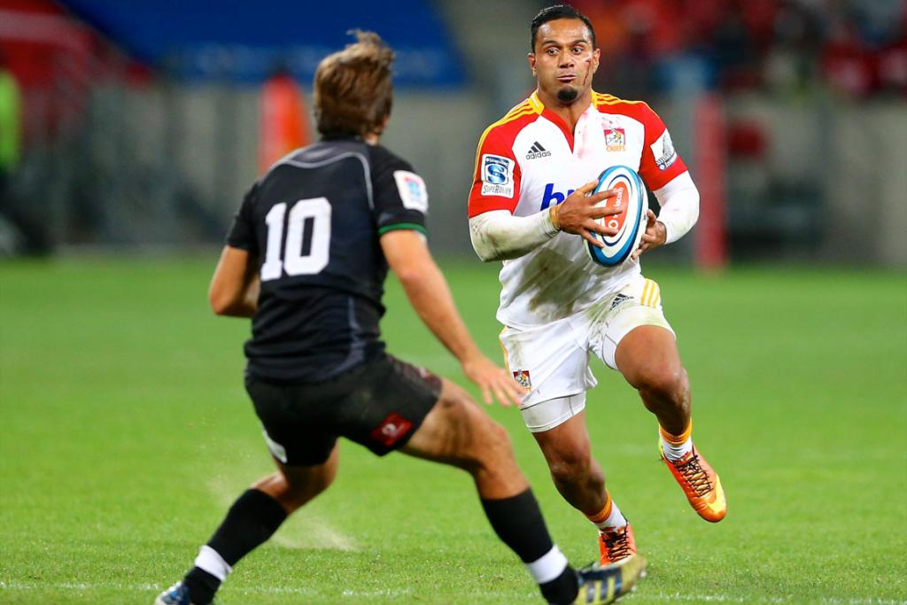 Lelia Masaga makes a run during his triple-try scoring effort against the Kings.