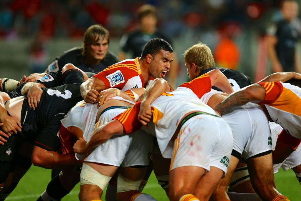 Liam Messam gets his side fired up during his 100th Super Rugby game for the Chiefs against the Southern Kings.