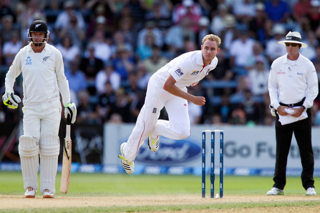 Stuart Broad sends down a delivery.