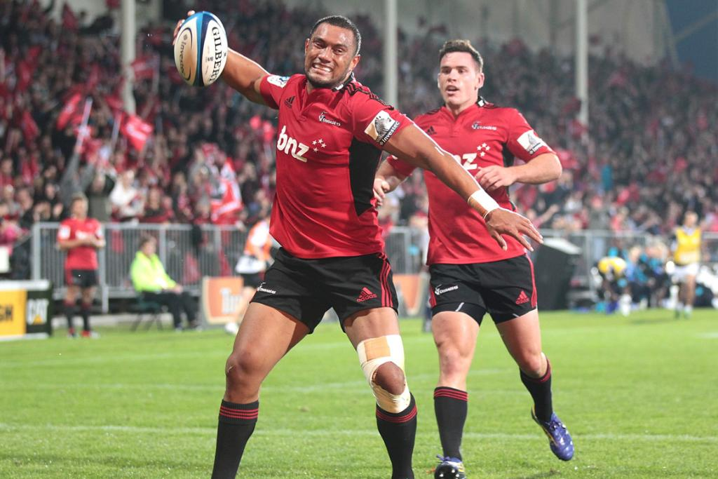 Robbie Fruean celebrates his try as the Crusaders finally get a win this season over the Bulls.